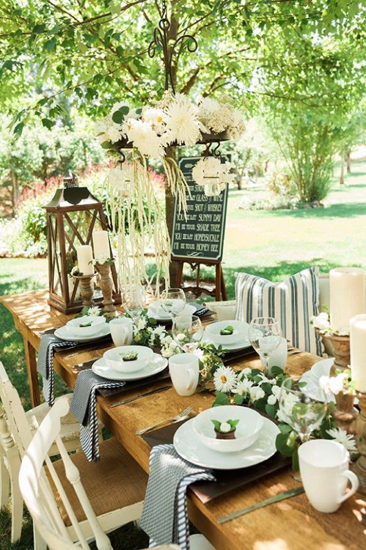 Outdoor cowgirl bridal shower bridal shower ideas themes for Outdoor table decor ideas